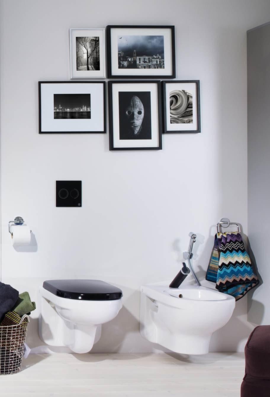 Svart & vitt. WC inklusive sits, 5 142 kronor, och bidé, 4 076 kronor, Gustavsberg.