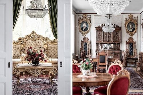 """""""Vi lämnar till och med möblerna med äkta bladguld, de som bara har beställts av mig och Saddam Hussein i hela världen"""", sa Leif-Ivan Karlsson när villan lades ut på marknaden."""