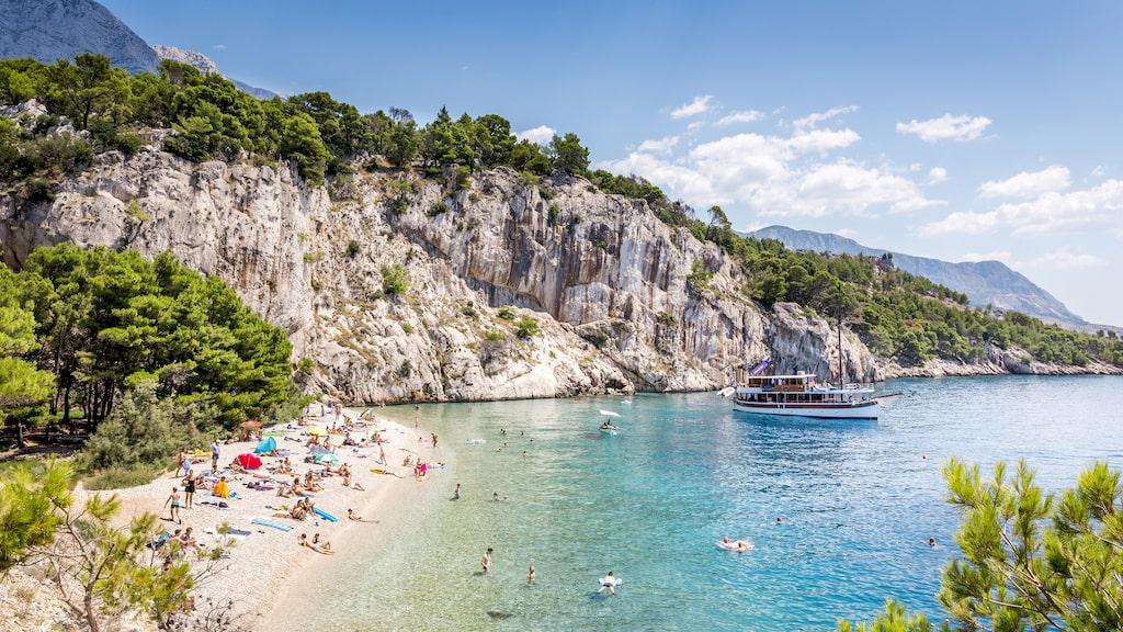 På tredje plats, Nugal Beach, Kroatien.