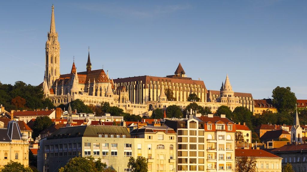 Hilton Hotel tronar på Budapests kullar, innästlat bland historiska byggnader.