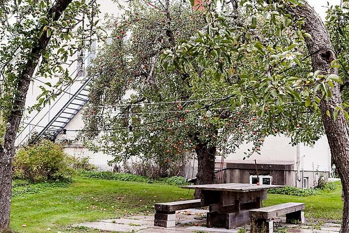 I trädgården finns en kalkstensbelagd uteplats och äppellund.