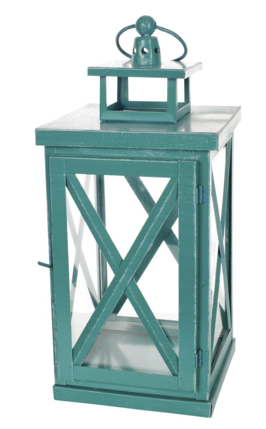 Turkos lanterna i trä och glas, 15 x 15 x 31 centimeter, finns i tre storlekar, 179 kronor, Blomsterlandet.