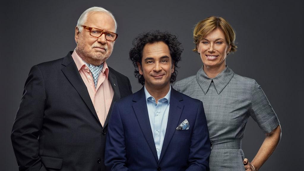 """Mischa Billing tillsammans med kollegerna Leif Mannerström och Markus Aujalay i juryn för """"Sveriges mästerkock""""."""