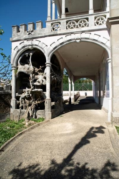 Balkongdetalj från palatset Palacete do Conde Dias Garcia.