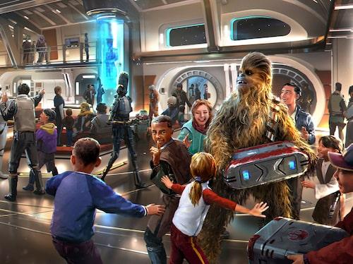 """Möt Chewbacca och andra välkända """"Star wars""""-karaktärer på Star wars: Galactic starcruiser."""