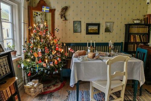 Julpyntad arbetarbostad på museet Kulturen i Lund