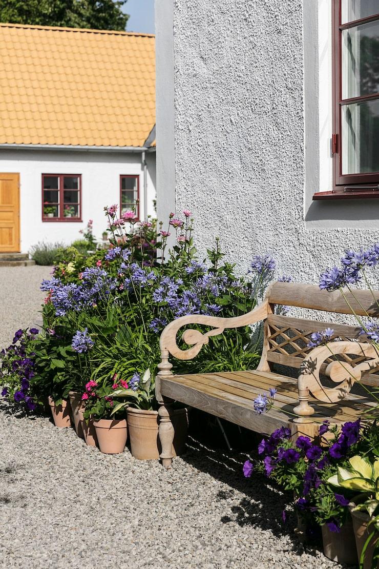 Längs en av husets kortsidor står en trädgårdsbänk i ett perfekt läge för att man ska kunna njuta av hela trädgården.