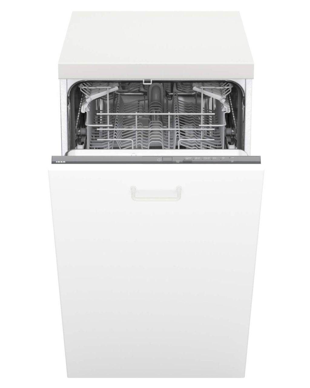 Smal integrerad diskmaskin Hjälpsam, 55,5 x 81,8 x 44,6 centimeter, 3 795 kronor, Ikea.