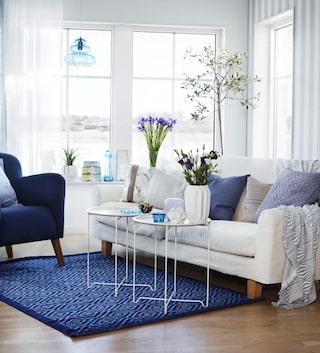 Populära Inredningstips! Inred vackert i blått och vitt | Vardagsrum UO-84