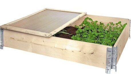 Tvådelat pallkragslock som skyddar ditt växtprojekt. Gångjärn ingår.