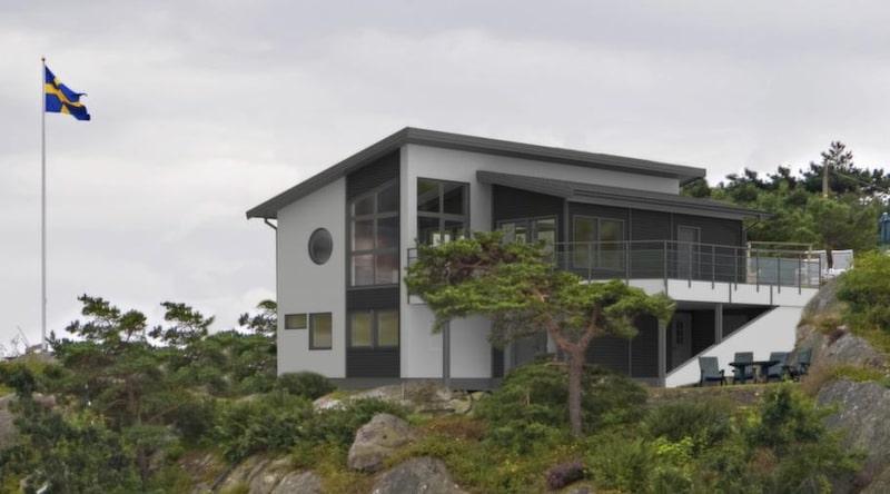 Sluttningshus med jättebalkong<br>Collina<br>TYP: Sluttningshus på 185 kvadratmeter med 7 rum och kök.<br>PRIS: 3 500 000 kronor. 18 919 kronor kvadratmetern.<br>HUSFÖRETAG: Myresjöhus myresjohus.se