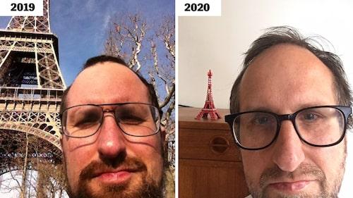 Niklas Sessler framför Eiffeltornet, då och nu.