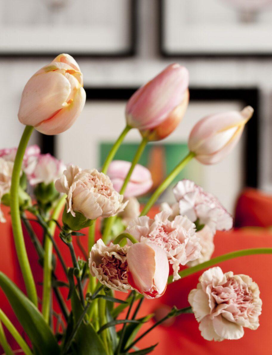 <strong>Tittgodis. </strong><br>Frossa i tulpaner, som de här franska, och varför inte blanda upp med några andra blommor, Floristkompaniet. Vas, 1 850 kronor, Norrgavel.