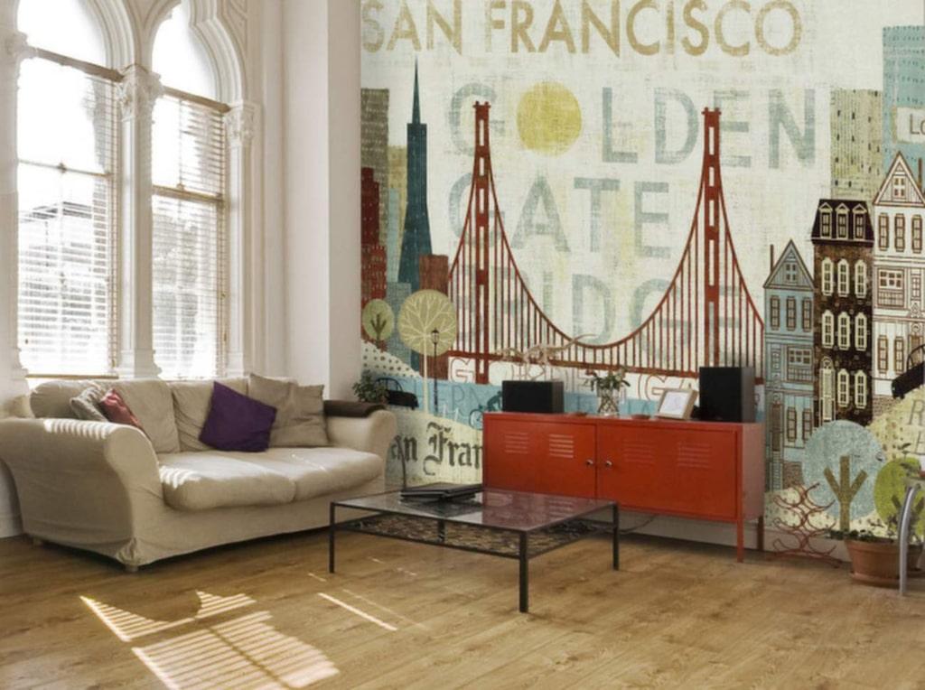 Varför inte ett San Fransisco-motiv i vardagsrummet?