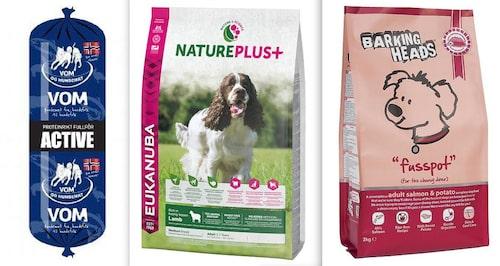 Här är de tre fodren nedan i testet från djurlandet.nu