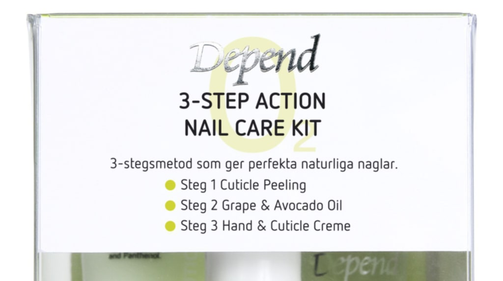 """<p>3-step action Nail care kit, 199 kronor, Depend.</p><p><exp:icon type=""""wasp""""></exp:icon><exp:icon type=""""wasp""""></exp:icon><exp:icon type=""""wasp""""></exp:icon><exp:icon type=""""wasp""""></exp:icon><exp:icon type=""""wasp""""></exp:icon><br></p>"""