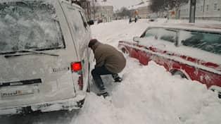 Snön föll tungt i Göteborg. Foto  Leif Jacobsson.