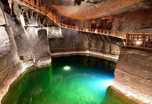Magisk miljö i saltgruvan i Wieliczkas.