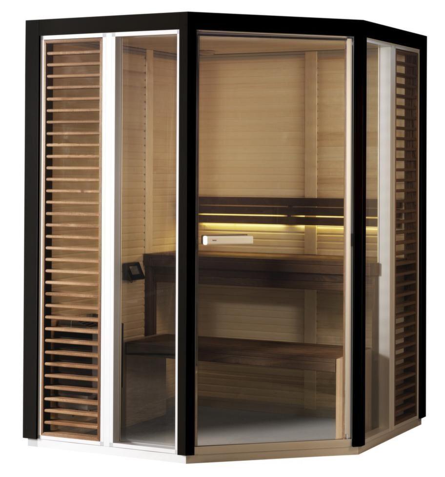 Tylö impression bastuhörn<br>Kapacitet: 4 personer. Yttermått: 210x132,5x172,5 cm. Aggregat: 4,5 kW. Dörr: Glas. Material i vägg: Asp. Material på lavar/bänkar: Värmebehandlad ask. Lägsta rumshöjd för montage: 2,15 meter.<br>Impression bastuhörn kan vara både en traditionell bastu eller mild ångbastu. Du väljer mellan olika aggregat och inredning. Aggregat med ångfunktion kallas för soft sauna. Profilerna knäpps ihop utan skruvar och jalusierna är avtagbara för att underlätta rengöring. Den levereras med termometer samt inbyggd led-belysning. Finns i flera storlekar.<br>Cirkapris: 61 000 kronor