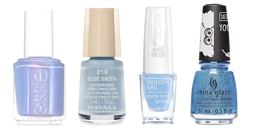 "Essie ""You do blue"", Mavala ""Blue siesta"", IsaDora ""Heavenly blue"", China Glaze ""Dat color dough""."