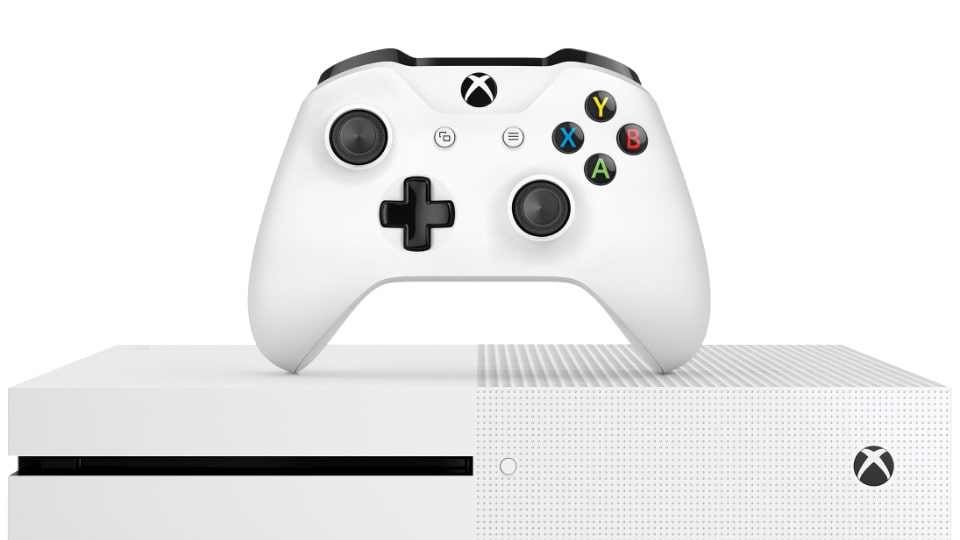 "Xbox One S 500 GB, vit, samt spelet ""Gears of War 4"" XONES500GB. Ordinarie pris: 2889 kronor. Mellandagspris: 2190 kronor."
