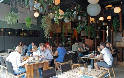 Hamburgerrestaurangen Burgerij Eilandje ligger vattennära.