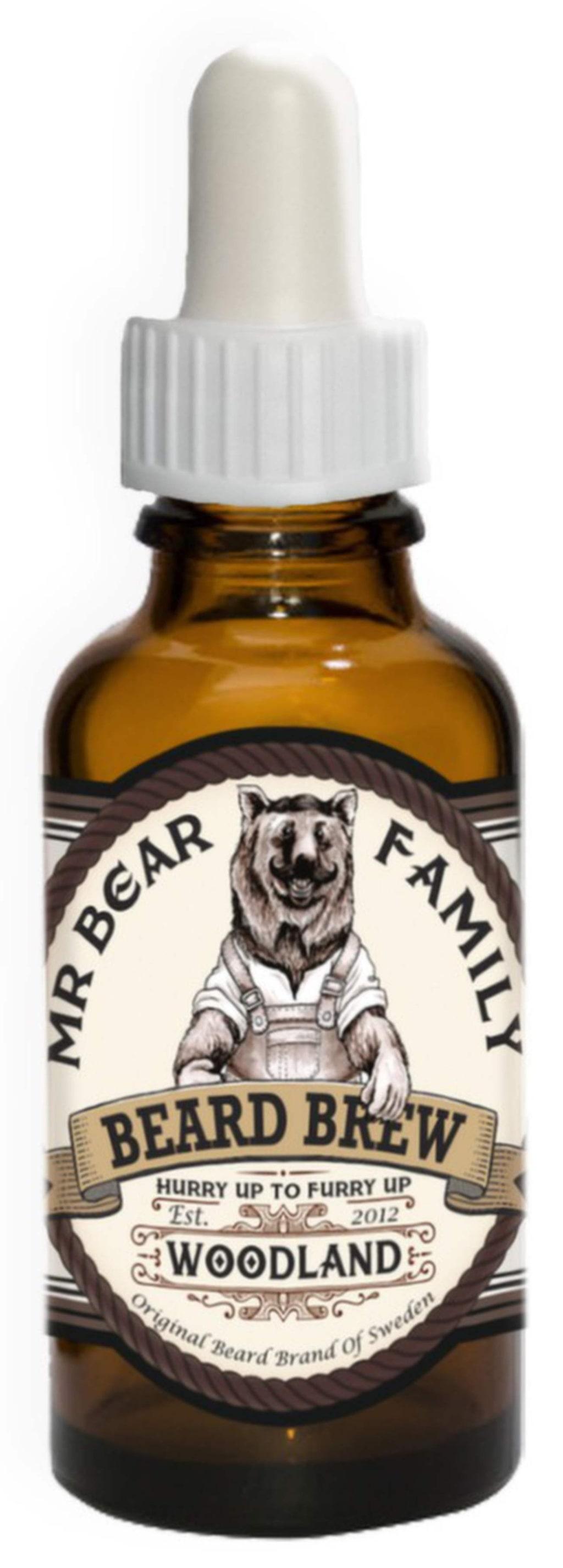 """<p>Skäggolja med doft av tallskog från Mr Bear, 30 ml, 155 kronor på <a href=""""http://www.grooming.se/mr-bear-brew-woodland.html"""">Grooming.se</a>.</p>"""