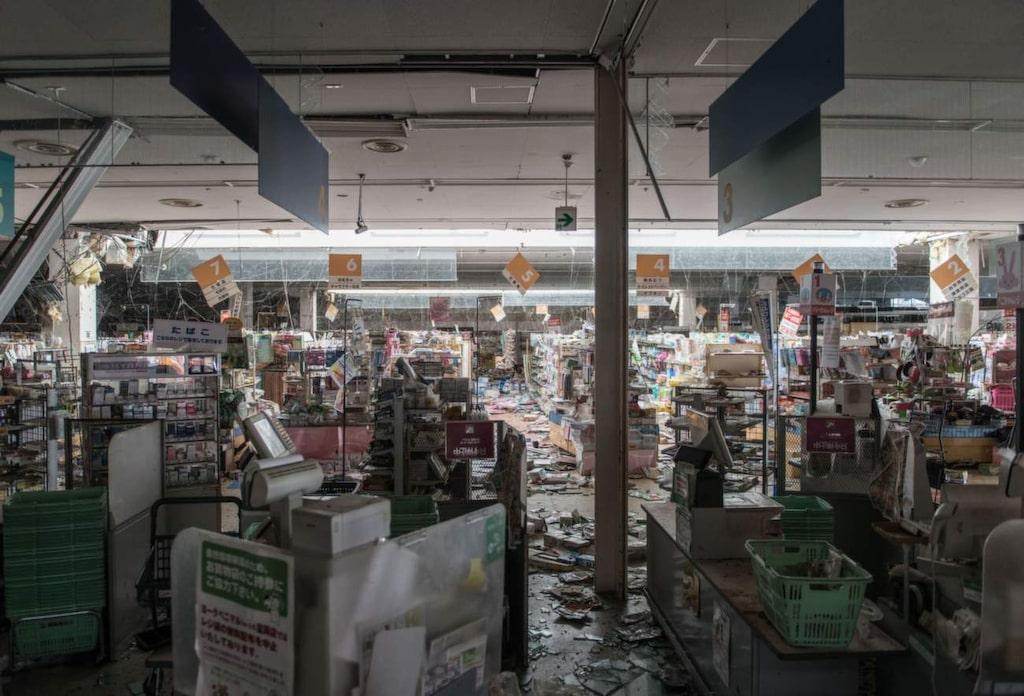 <p>Kassorna där köpen avbröts abrupt när katastrofen inträffade 2011.</p>
