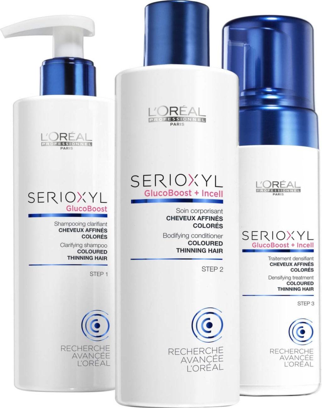 <p>Schampo, balsam och mousse verkar vårdande och stärkande med aktiva ingredienser som ger ett fylligare hår på sikt. Säljs på hårsalonger.</p><p><strong>Serioxyl, fuller hair kit natural thinning hair, 399 kronor, L'Oréal Professionnel.</strong></p>