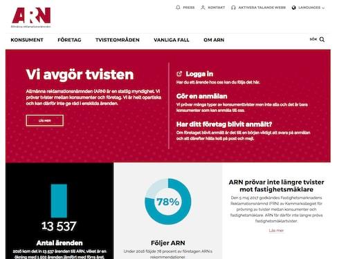 Allmänna reklamationsnämndens hemsida.