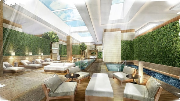 Ett gigantiskt spa ska finnas i det nybyggda hotellet.