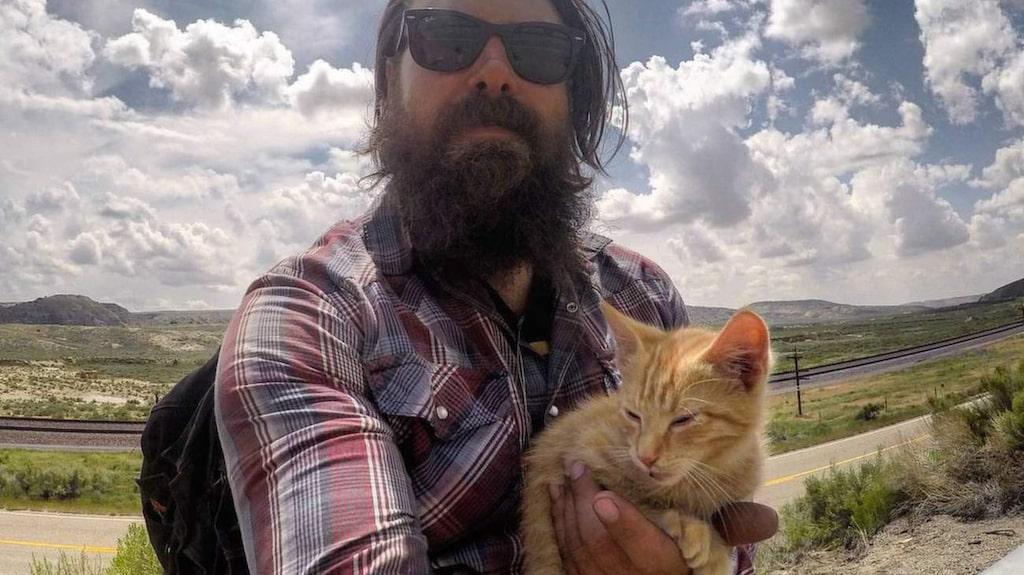 <p>Katten höll sig till Pat under hela resan och matades med tonfisk.</p>