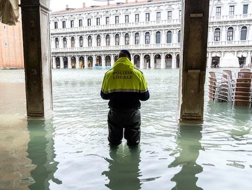 Översvämningar i Venedig i november 2019 innebar bland annat att Markusplatsen kom under vatten.