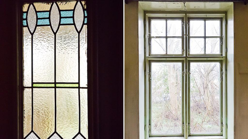Blyinfattade fönster är en av alla originaldetaljer i huset.