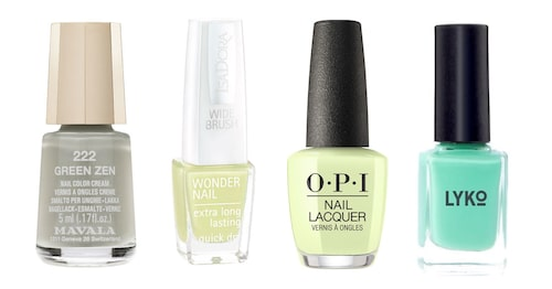 "Mavala ""Green zen"", IsaDora ""Sunny lime"", OPI ""How does your zen garden grow?"", Lyko ""Aloha baby""."