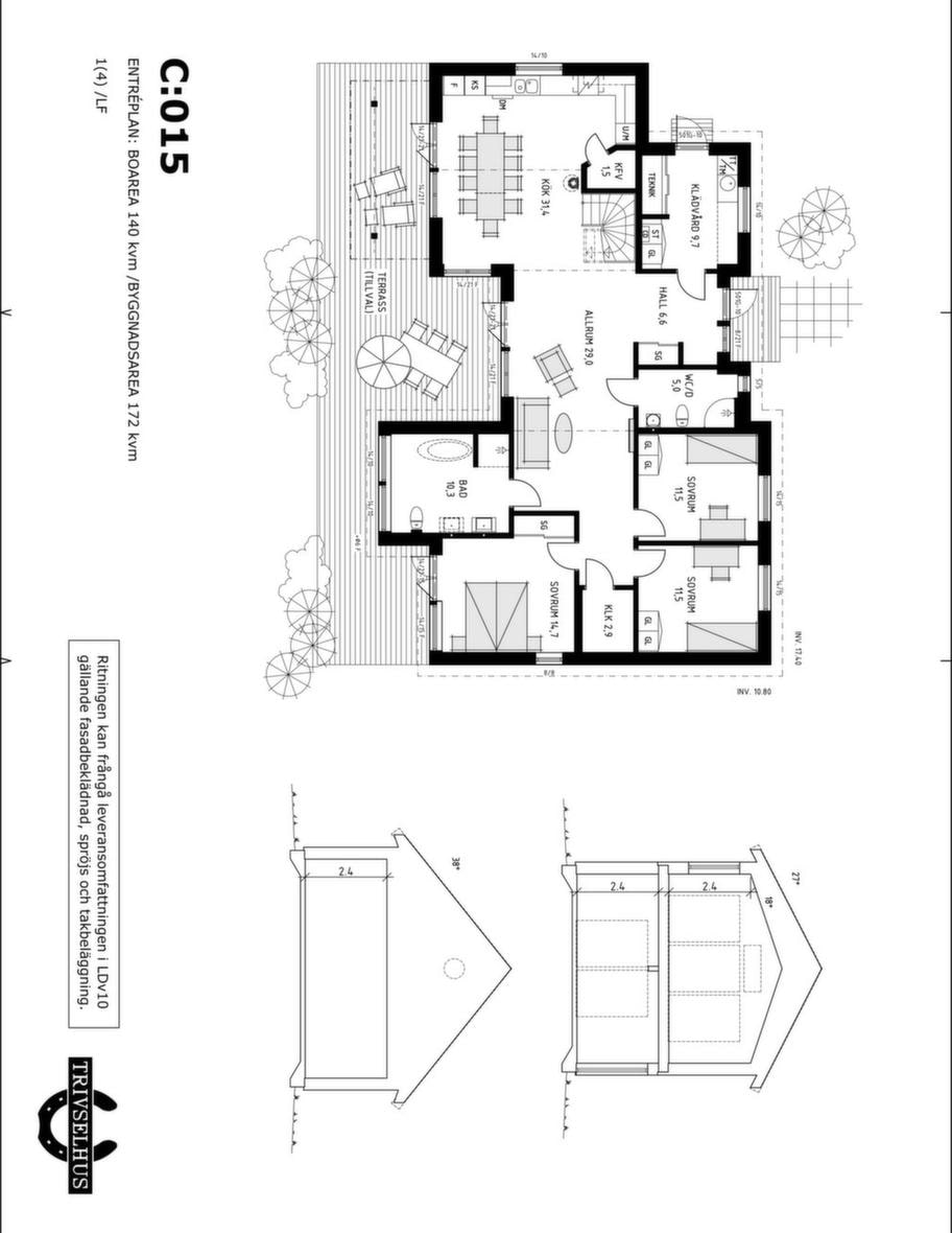 Fakta<br>Namn: Seaside C:105<br>Typ: 2-planshus med fem rum och kök på 172 kvadratmeter.<br>Pris: Cirka 3 310 000 kronor. 19 244 kronor kvadratmetern.<br>Husföretag: Trivselhus trivselhus.se