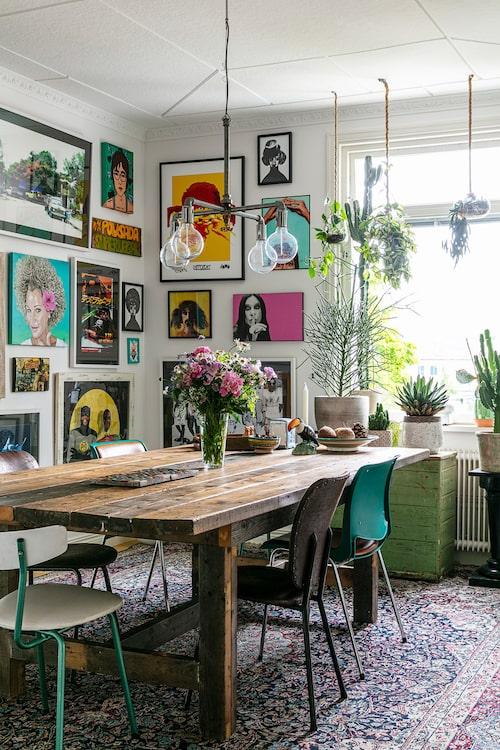 I fönstret står exotiska stora kaktusar. Taklampa, Industriell design.