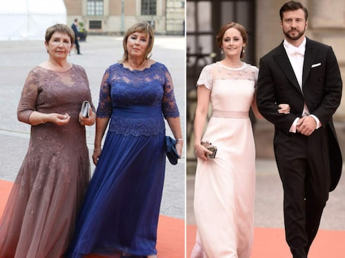Delar av Sofia Hellqvists familj på det kungliga bröllopet 2015. På inbjudan hade brudparet skrivit: Herrar: civil eller militär högtidsdräkt. Damer: aftontoilette (tiara må bäras).