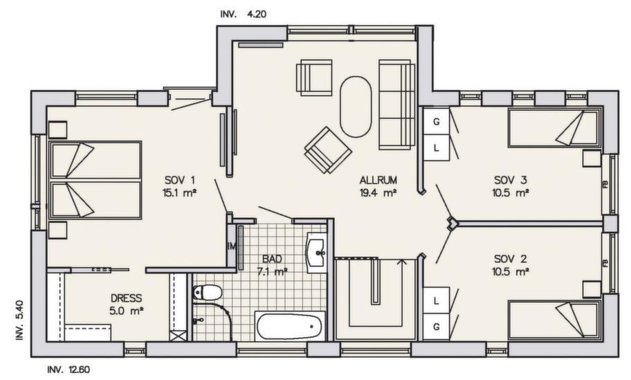 Fakta<br>Namn: Reymersholm<br>Typ:  2-planshus med sex-sju rum och kök på 182 kvadratmeter.<br>Pris: 2 970 000 kronor med träpanel. 16 319 kronor kvadratmetern.<br>Husföretag:  Götenehus gotenehus.se