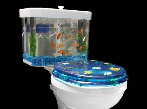 Har du barn lär den här toaletten garanterat göra succé. Akvarium med guldfiskar i tanken. Bra lockelse när man ska lämna pottan måhända?