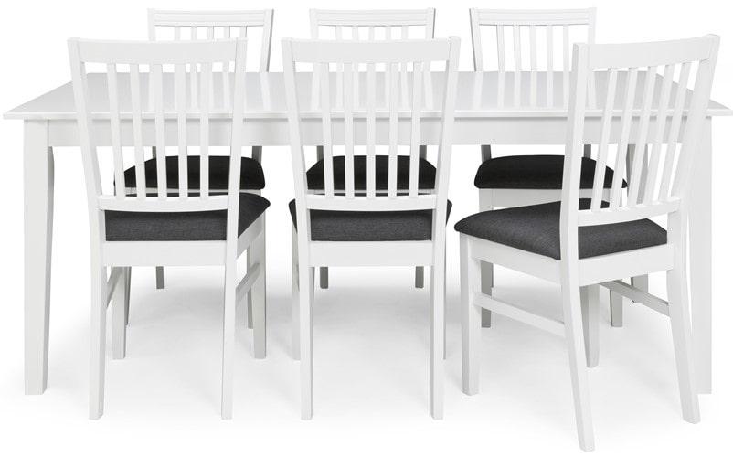 Emilia matbord i vitlack, passar både som köksbord och matsalsbord. Bordet kan förlängas med upp till två tilläggsskivor, en på vardera kortsida. Stolen finns med både tyg- och träsits till samma pris. Ordinarie pris: 8865 kronor. Mellandagspris: 5995 kronor.
