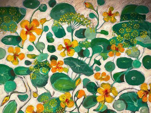 """""""Nu längtar jag till sommarens krasse och krondill! Jag målade min längtan, jag målade mig glad!"""" Så skrev Ernst om den här tavlan i april."""