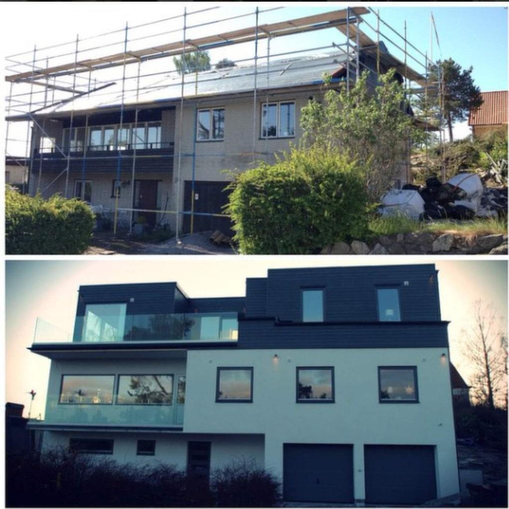 På sin Instagram visar Pierre husfasaden före och efter renoveringen.