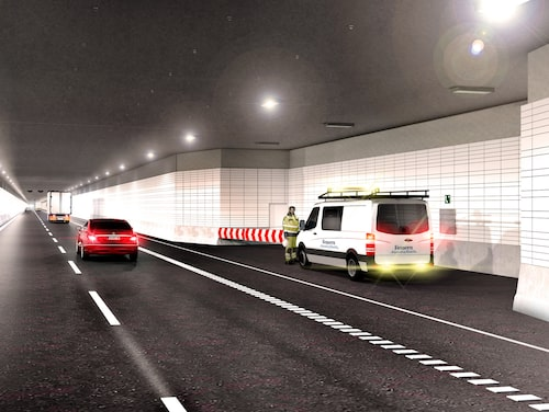 Tio av sektionerna kommer att ha särskilda utvidgningar som kommer att hysa den elektriska utrustning som behövs för att tunneln ska fungera.