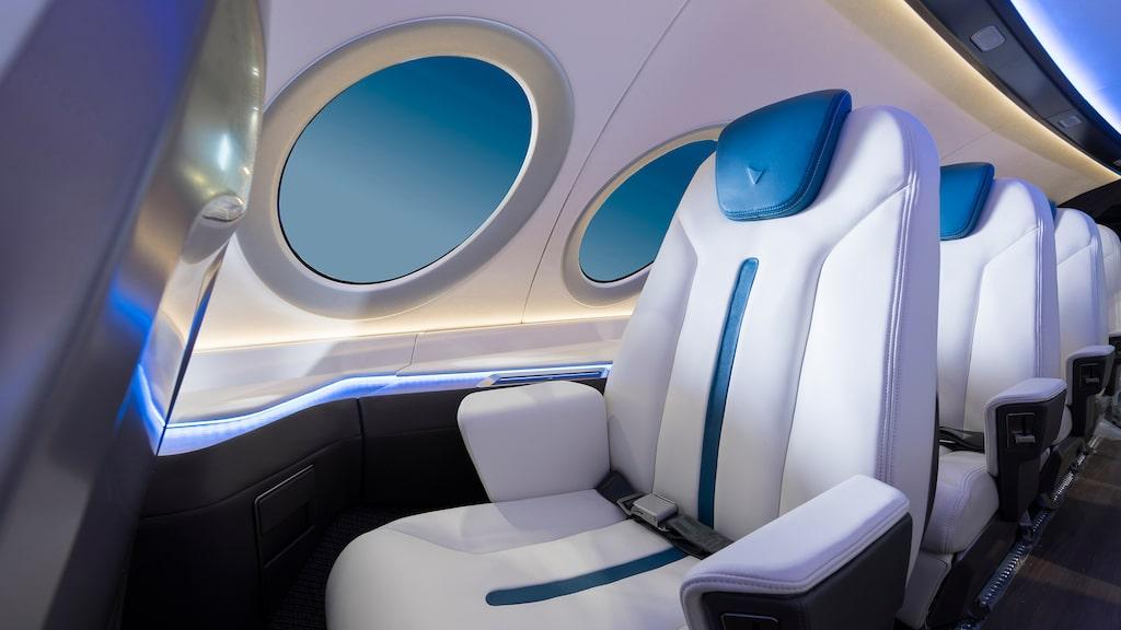 Interiörbild från del eldrivna flygplanet Alice, som presenterades på flygmässan i Paris i år.