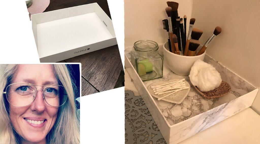 Även Cecilia Pihl, 37, har använt marmormönstrad dekorplast för att göra om hemma. Här blev en gammal Ipad-kartong en snygg marmorbricka till dotterns smink.