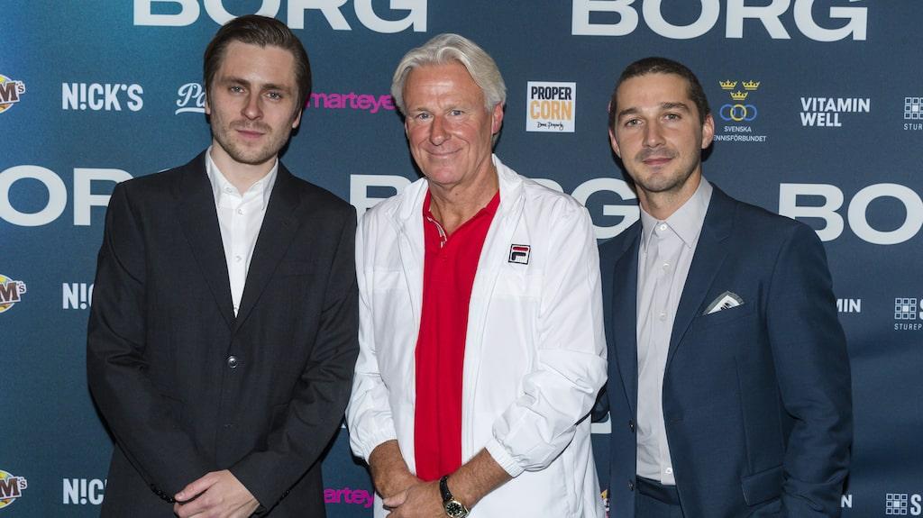 """Stjärnan tillsammans med Björn Borg och Shia LeBeouf som spelar John McEnroe i filmen """"Borg""""."""