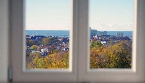 Från vattentornet har man utsikt över hela Ystad.
