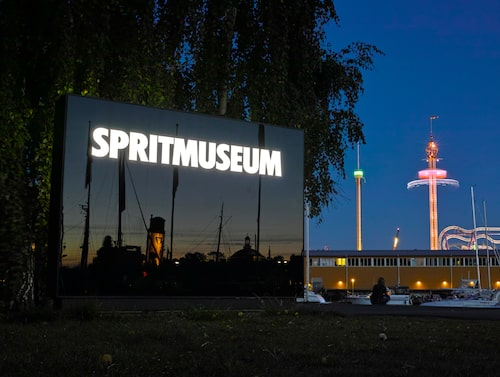 Spritmuseum med Gröna Lund i bakgrunden.