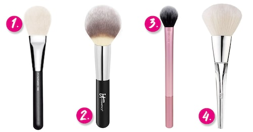 1. MAC Cosmetics 135S Large flat powder brush. 2. It Cosmetics #8 Heavenly luxe wand ball powder brush. 3. Real Techniques Setting brush. 4. ELF Beautifully precise powder brush.